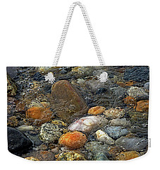 Weekender Tote Bag featuring the mixed media At Rest Within The Streaming Tide by Lynda Lehmann
