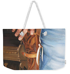 Weekender Tote Bag featuring the painting At The Ready by Lori Brackett