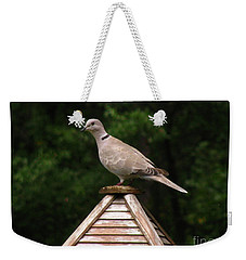 At The Top Of The Bird Feeder Weekender Tote Bag by Donna Brown