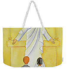 At Their First Holy Communion Children Meet Jesus In The Holy Eucharist Weekender Tote Bag