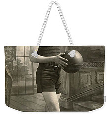 Weekender Tote Bag featuring the painting Athletic Boy by Artistic Panda