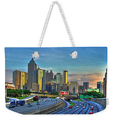 Weekender Tote Bag featuring the photograph Atlanta Coca-cola Sunset Reflections Art by Reid Callaway