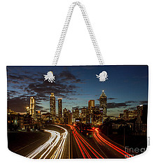 Weekender Tote Bag featuring the photograph Atlanta Downtown Infusion Atlanta Sunset Cityscapes Art by Reid Callaway