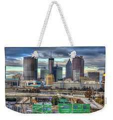 Weekender Tote Bag featuring the photograph Atlanta Moving On Skyline Cityscape Art by Reid Callaway