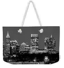Atlanta Skyline At Night Downtown Midtown Black And White Bw Panorama Weekender Tote Bag