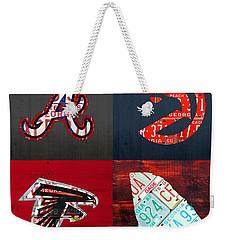 Atlanta Sports Fan Recycled Vintage Georgia License Plate Art Braves Hawks Falcons Plus State Map Weekender Tote Bag