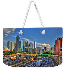 Weekender Tote Bag featuring the photograph Atlanta The Capital Of The South Cityscapes Sunset Reflections Art by Reid Callaway