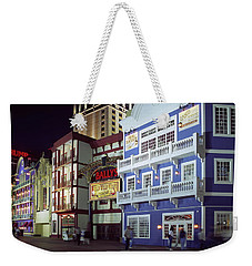 Weekender Tote Bag featuring the photograph Atlantic City Boardwalk At Night by Sally Weigand