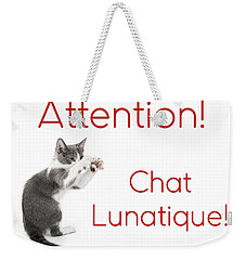 Weekender Tote Bag featuring the photograph Attention Chat Lunatique by Endre Balogh
