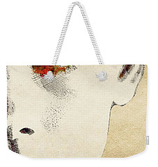 Audrey Half Face Portrait Weekender Tote Bag by Mihaela Pater