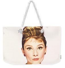Weekender Tote Bag featuring the photograph Audrey Hepburn Breakfast At Tiffanys  by R Muirhead Art
