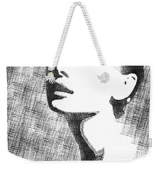 Audrey Hepburn Bw Portrait Weekender Tote Bag by Mihaela Pater