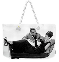 Weekender Tote Bag featuring the photograph Audrey Hepburn Holly Golightly Breakfast At Tiffanys  by R Muirhead Art