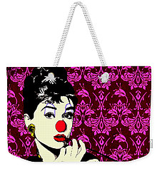 Weekender Tote Bag featuring the drawing Audrey On Purple by Jason Tricktop Matthews