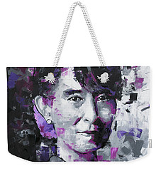 Weekender Tote Bag featuring the painting Aung San Suu Kyi by Richard Day