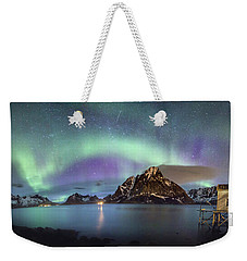 Aurora Above Reinefjord Weekender Tote Bag by Alex Conu