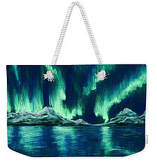 Weekender Tote Bag featuring the pastel Aurora Borealis by Anastasiya Malakhova