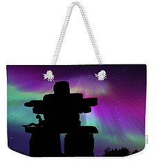 Aurora Borealis - Inukshuk - Northern Lights  Weekender Tote Bag