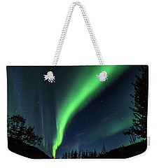 Weekender Tote Bag featuring the photograph Aurora Borealis Northern Lights At Kantishna In Denali National Park by Brenda Jacobs