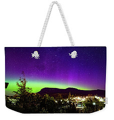 Weekender Tote Bag featuring the photograph Aurora Over Mt Wellington, Hobart by Odille Esmonde-Morgan
