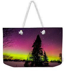 Aurora With Spruce Tree Weekender Tote Bag by Tim Kirchoff