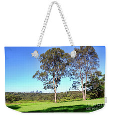 Weekender Tote Bag featuring the photograph Aussie Gum Tree Landscape By Kaye Menner by Kaye Menner