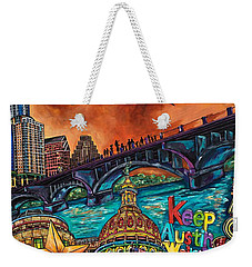 Weekender Tote Bag featuring the painting Austin Keeping It Weird by Patti Schermerhorn