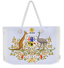 Weekender Tote Bag featuring the drawing Australia Coat Of Arms by Movie Poster Prints