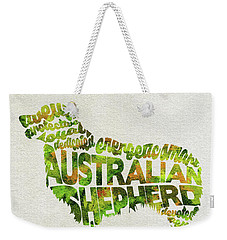 Weekender Tote Bag featuring the painting Australian Shepherd Dog Watercolor Painting / Typographic Art by Ayse and Deniz