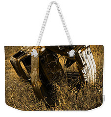 Auto Wreck In A Grassy Field On The Prairie At Sunset Weekender Tote Bag