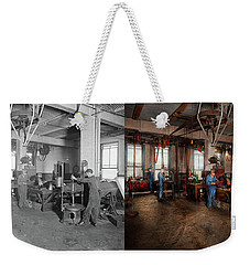 Weekender Tote Bag featuring the photograph Autobody - The Bodyshop 1916 - Side By Side by Mike Savad