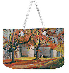 Weekender Tote Bag featuring the painting Autumn Along Maastricht City Wall by Nop Briex