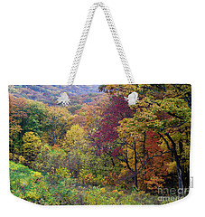 Weekender Tote Bag featuring the photograph Autumn Arrives In Brown County - D010020 by Daniel Dempster