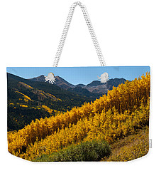 Weekender Tote Bag featuring the photograph Autumn Aspen Near Castle Creek by Cascade Colors