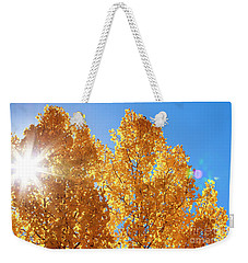 Autumn Aspens With Sun Star Weekender Tote Bag