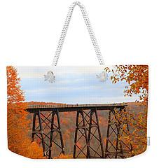 Weekender Tote Bag featuring the photograph Autumn At Kinzua Bridge by Rick Morgan