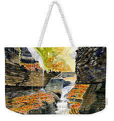 Autumn At Rainbow Falls  Weekender Tote Bag by Melly Terpening