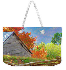 Autumn Barn Digital Watercolor Weekender Tote Bag