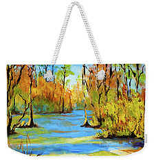 Weekender Tote Bag featuring the painting Autumn Bayou by Dianne Parks
