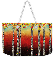 Weekender Tote Bag featuring the painting Autumn Birch Trees by Carmen Guedez