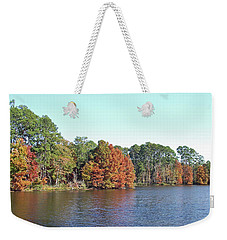 Weekender Tote Bag featuring the photograph Autumn Color At Ratcliff Lake by Jayne Wilson