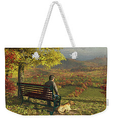 Weekender Tote Bag featuring the digital art Autumn Companions by Jayne Wilson