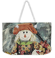 Weekender Tote Bag featuring the digital art Autumn Country Scarecrow by Kathy Kelly