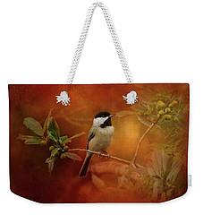 Autumn Day Chickadee Bird Art Weekender Tote Bag by Jai Johnson