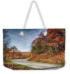 Weekender Tote Bag featuring the photograph Autumn Dreams Around The Bend by Lara Ellis