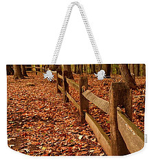 Weekender Tote Bag featuring the photograph Autumn Fence by Angie Tirado