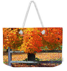 Autumn Fence Weekender Tote Bag
