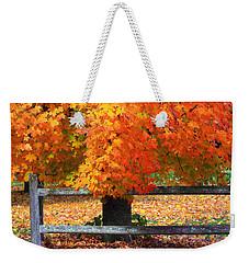 Autumn Fence Weekender Tote Bag