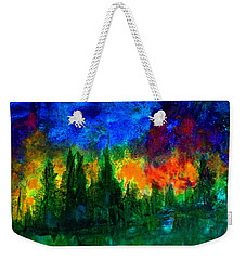 Weekender Tote Bag featuring the painting Autumn Fires by Claire Bull