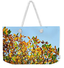 Weekender Tote Bag featuring the photograph Autumn Flames - Original by Rebecca Harman